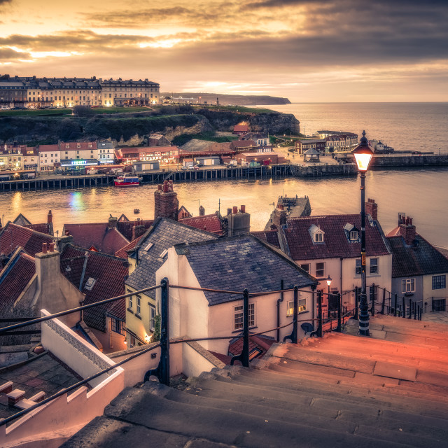 """Whitby from the 199 Steps"" stock image"