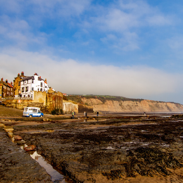 """Robin Hoods Bay, Yorkshire East Coast, England. A Panoramic View from the Beach of the Village"" stock image"