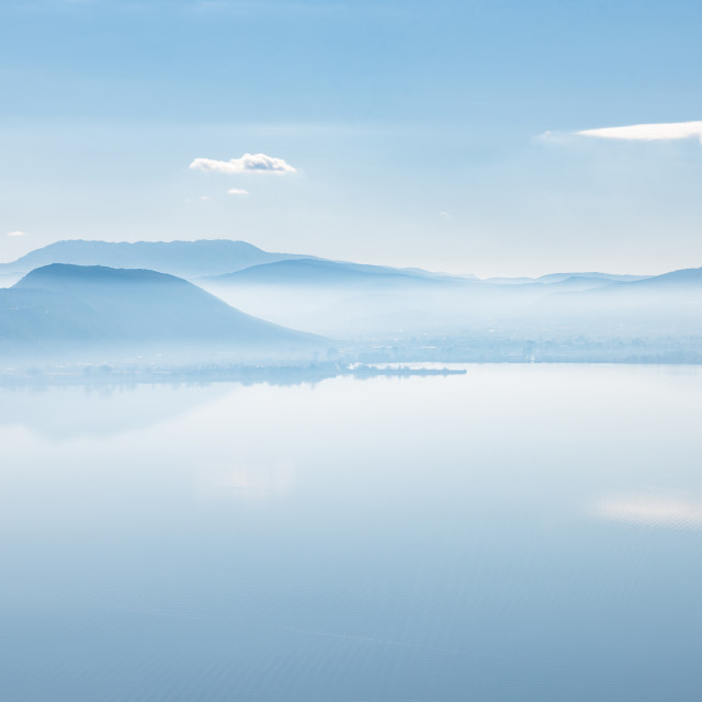 """""""""""Tranquility Of Mind"""" - Tranquil lake scene and mountains"""" stock image"""