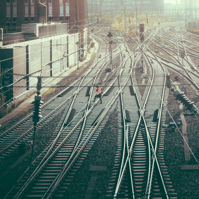 """""""""""Railway Track Control"""" - Railway tracks at central train station"""" stock image"""