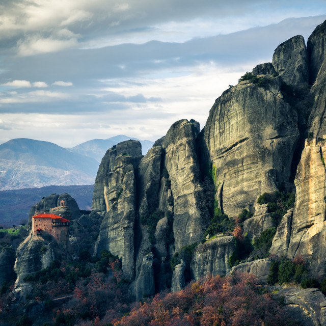 """""""""""At God's Feet"""" - Monastery at rock formations of Meteora, Greece"""" stock image"""