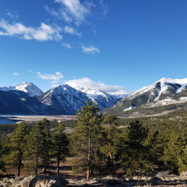 """""""Clear Skies Over Twin Lakes, CO"""" stock image"""