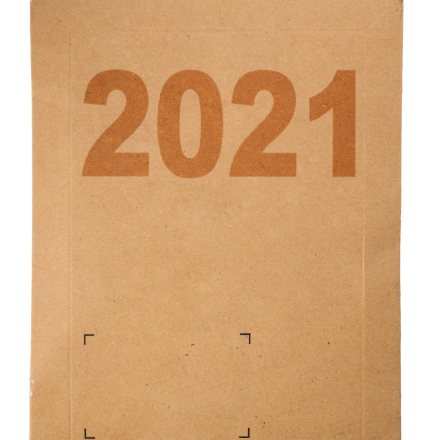 """New Year 2021 post Cardboard box isolated on a white. Delivery p"" stock image"
