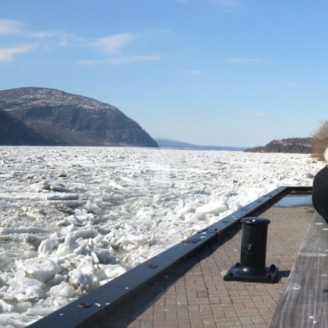 """Frozen Hudson Cold Spring, NY."" stock image"