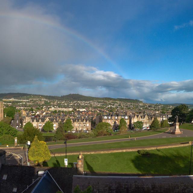 """Rainbow over Inverness"" stock image"