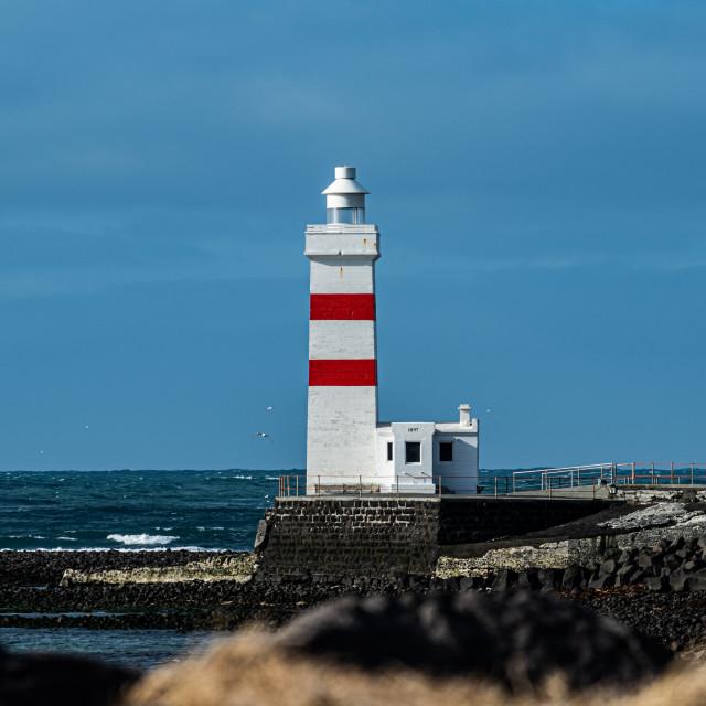 """""""Lighthouse in Gardur"""" stock image"""