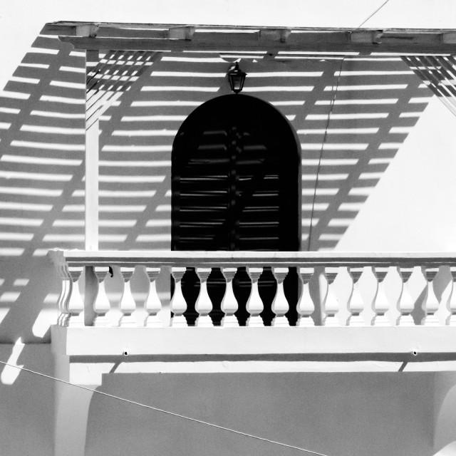 """""""Imerovigli Balcony"""" stock image"""