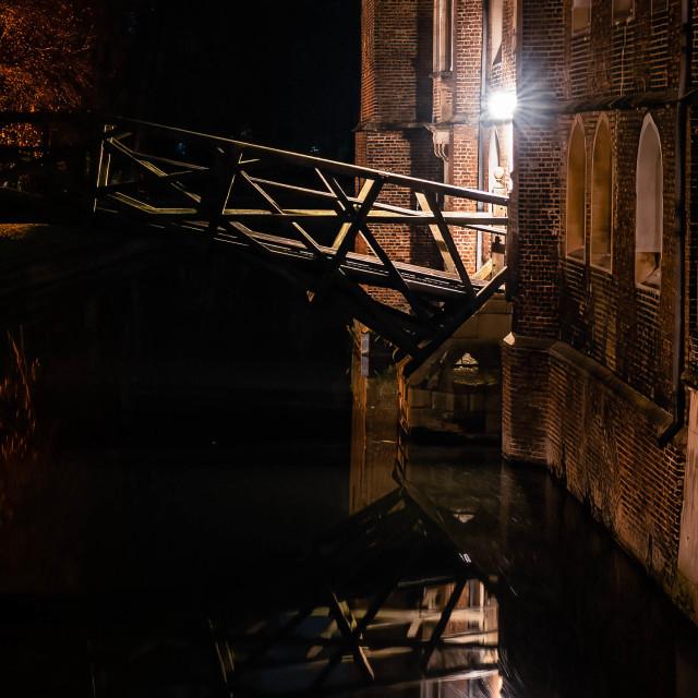 """Mathematical Bridge by night, Cambridge UK."" stock image"