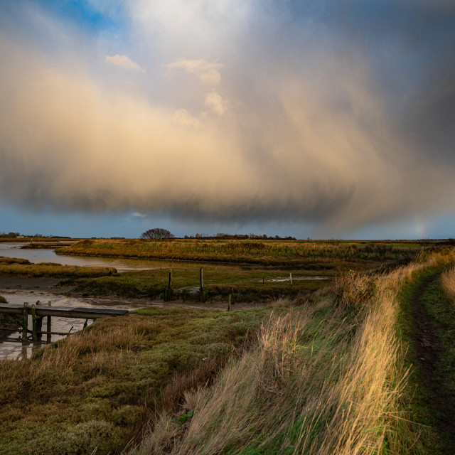 """""""Showers Over Hamford Waters"""" stock image"""