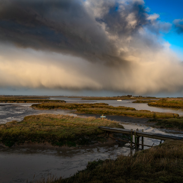 """""""Incoming Weather Over Hamford waters in Essex"""" stock image"""