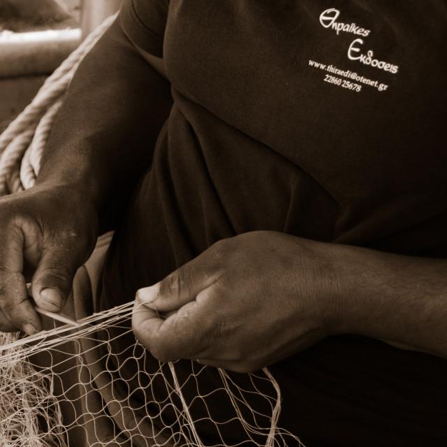 """""""Mending Nets"""" stock image"""