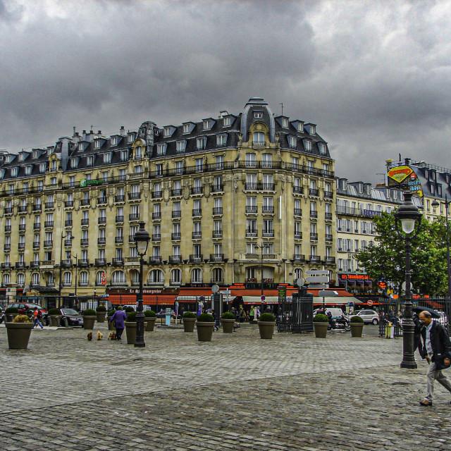 """""""Street Scene Outside La Gare De L'Est"""" stock image"""