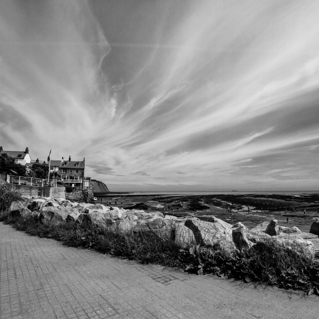 """Robin Hoods Bay, Monochrome. Yorkshire, England."" stock image"