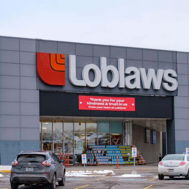 """Loblaws 'Thank You' banner in Ottawa"" stock image"