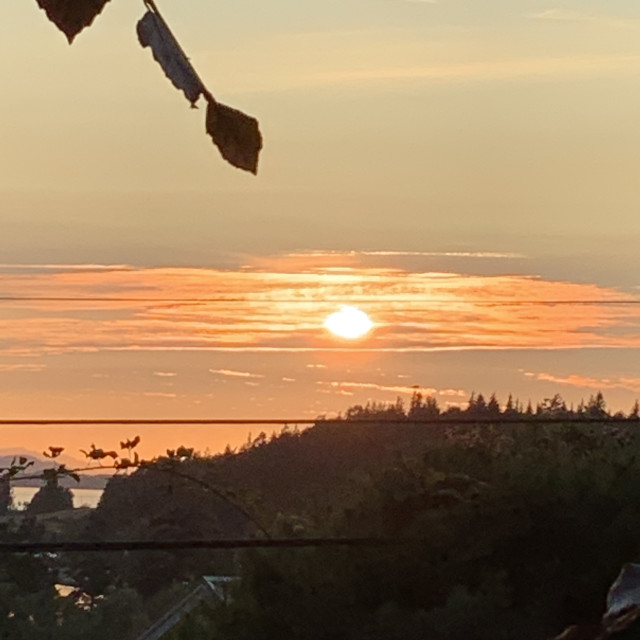 """Sunset on Lummi Island"" stock image"