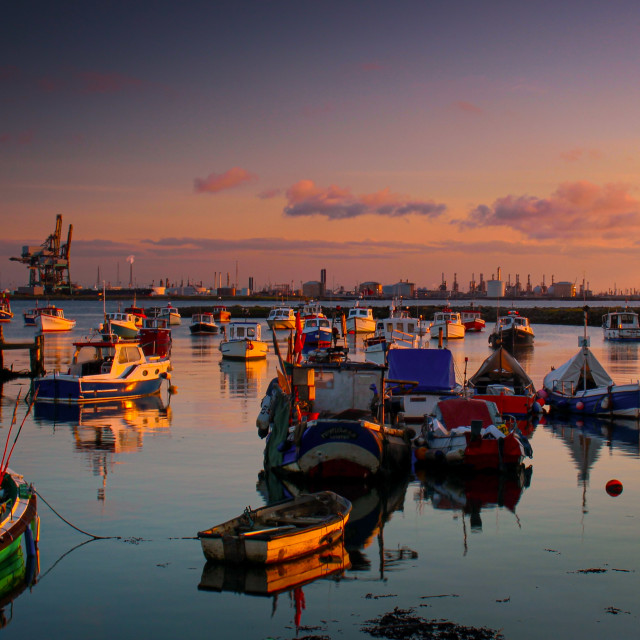 """Fishing Boats at Sunset."" stock image"