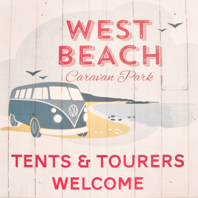 """""""Tents And Tourers Welcome"""" stock image"""