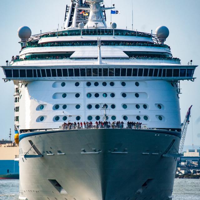 """Cruise ship head on"" stock image"