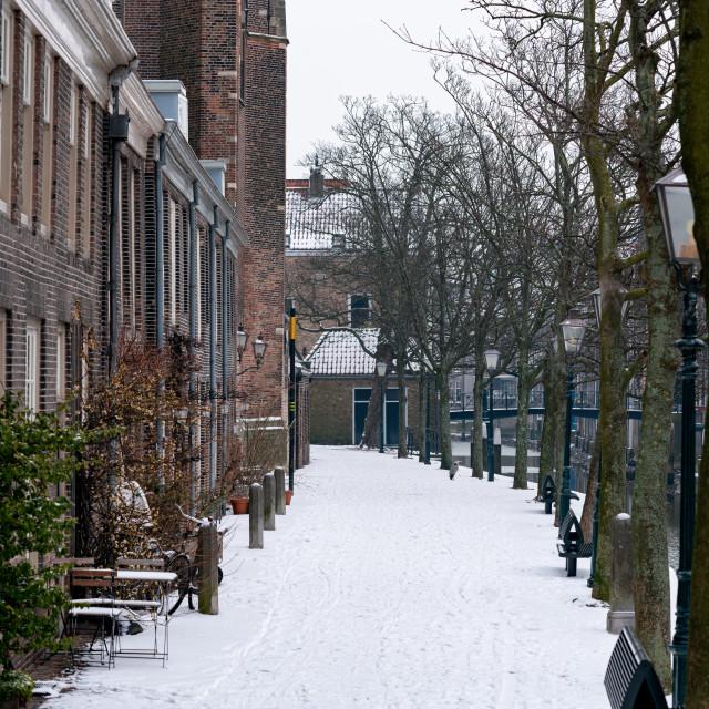 """Snowy Pottenkade in historical Dordrecht"" stock image"