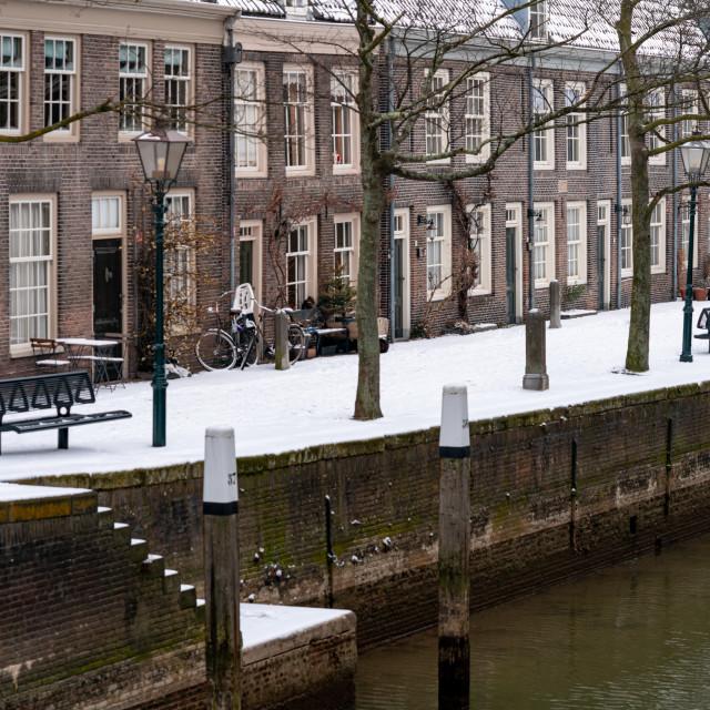 """Winter snow on the Pottenkade"" stock image"