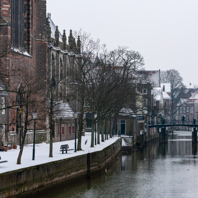 """""""Dordrecht cathedral in the snow"""" stock image"""