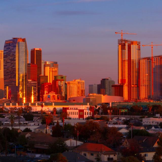 """Los Angeles skyline at sunset"" stock image"