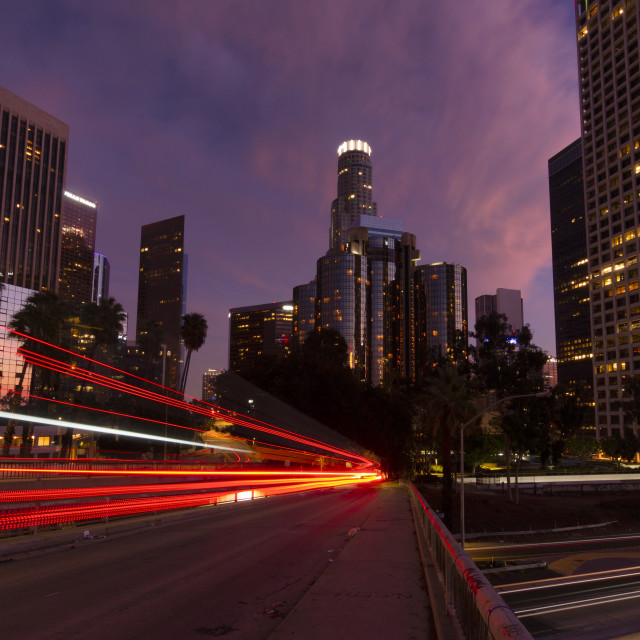 """""""Car trails in Los Angeles at dusk"""" stock image"""