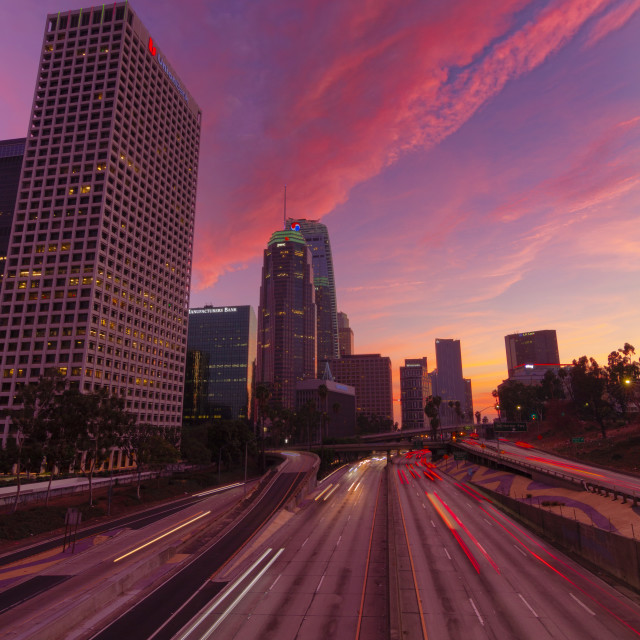 """""""110 Highway in Los Angeles at sunset"""" stock image"""