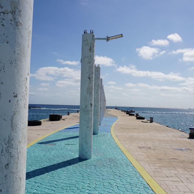 """""""The old pier in Playa del Carmen"""" stock image"""