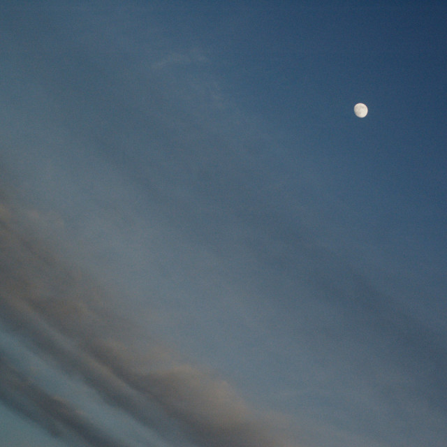 """""""3 quarter moon on a partly cloudy night"""" stock image"""
