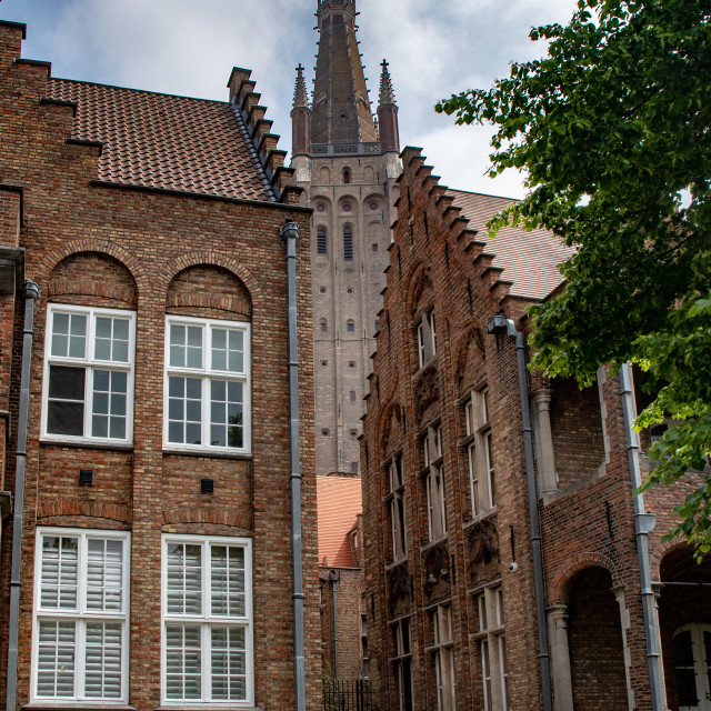 """""""Around church of Our Lady, Brugge - Bruges"""" stock image"""