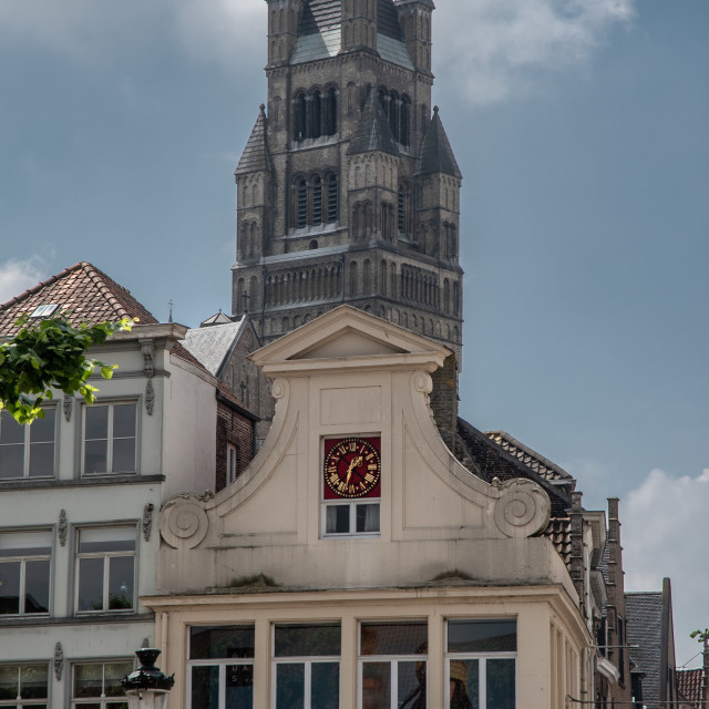 """Holy Saviour cathedral steeple & shopfront"" stock image"
