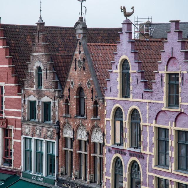 """""""Brugge (Bruges) Markt square house details"""" stock image"""