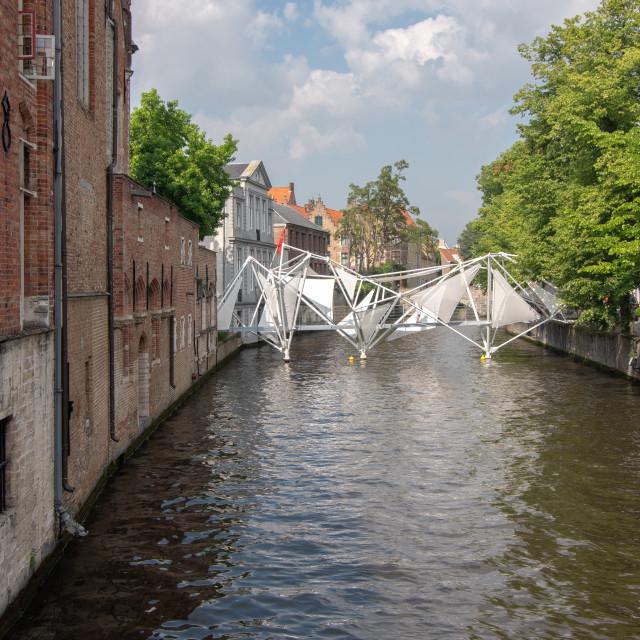 """""""Groenerei canal with arty bridge"""" stock image"""