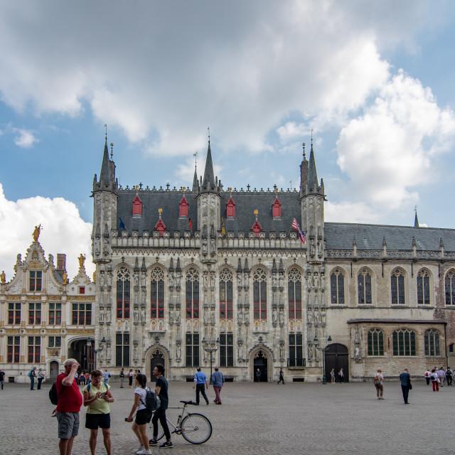 """""""Brugge (Bruges) Burg square & City Hall"""" stock image"""