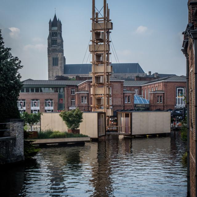 """Modern Sculpture + Holy Saviour Cathedral"" stock image"
