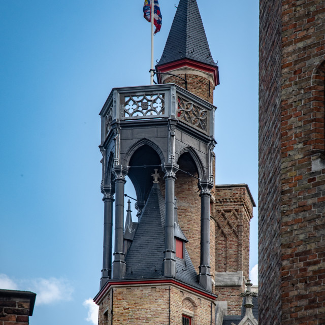 """""""Round & hexagonal towers, Church of Our Lady, Brugge"""" stock image"""