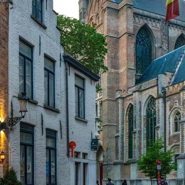 """""""Heilegegeeststraat & Holy Saviour Cathedral"""" stock image"""