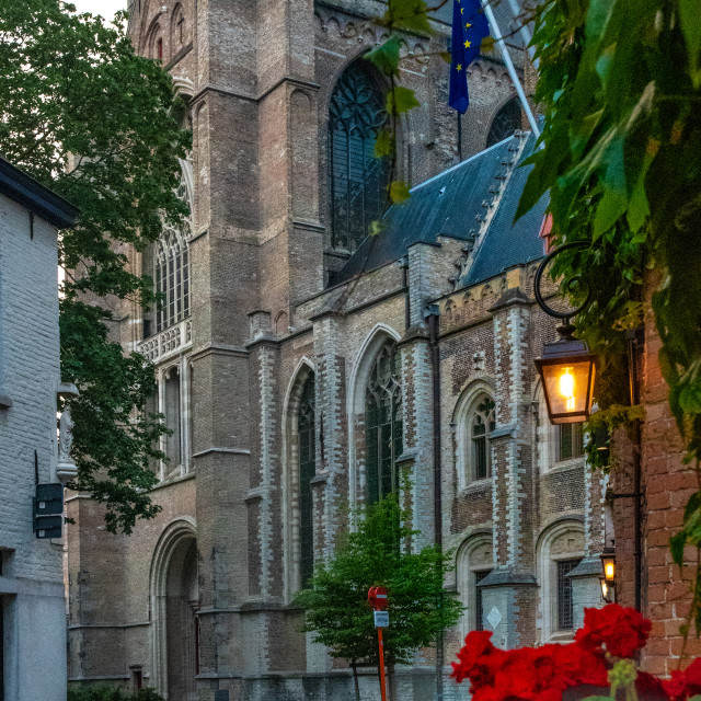 """""""Heilegegeeststraat & Holy Saviour Cathedral, with lamp & flowers"""" stock image"""