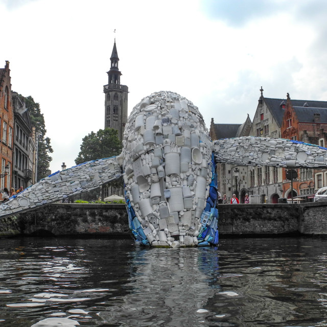 """""""Plastic garbage whale sculpture"""" stock image"""
