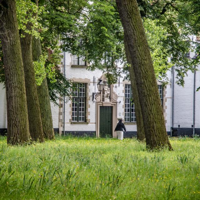 """Begijnhof courtyard with nun"" stock image"