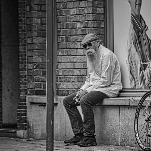 """""""Bearded old man on bench"""" stock image"""