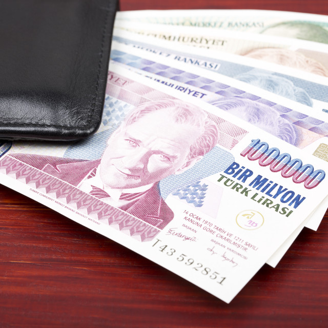 """Old Turkish money in the black wallet"" stock image"