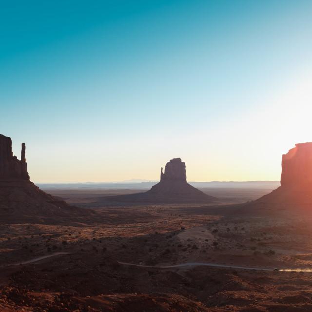 """Sunrise at Monument Valley, Utah."" stock image"