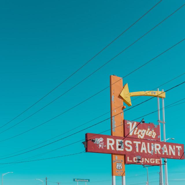 """Retro Route 66 sign"" stock image"