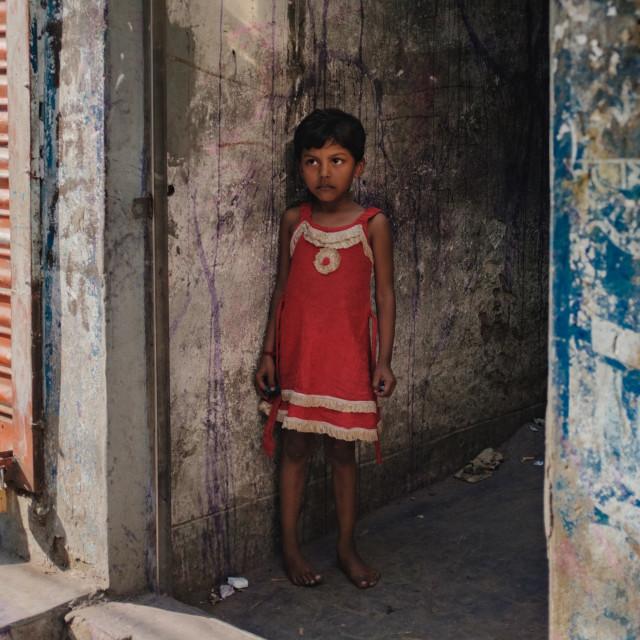 """Side walk portrait, girl"" stock image"