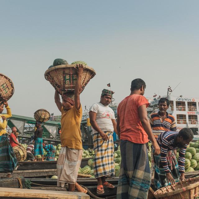 """""""Dhaka Dock Workers #1"""" stock image"""