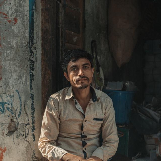 """""""Side walk portrait, man"""" stock image"""