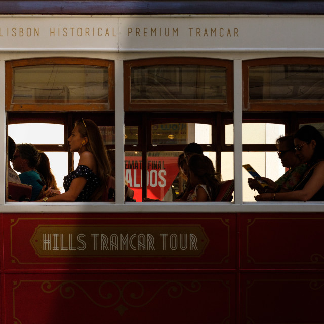 """""""Woman on the tram"""" stock image"""