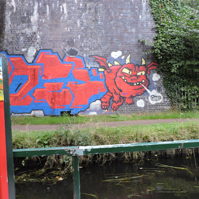 """""""Canal Graffiti Staffordshire & Worcestershire Canal September 2020"""" stock image"""